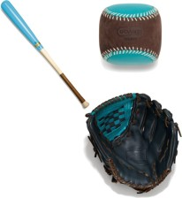 Play ball! In style might we add with this Coach baseball equipment.This gift set is sure to be a home run with your guy. Coach Heritage Baseball Leather Colorblocked Glove $348, Coach Heritage Baseball Dip Dye Bat $248, Coach Bleecker Leather Suede Baseball Paperweight $48, available at coach.com