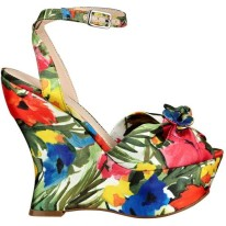 PRINT| GUESS Jobina Floral-Print Wedges, $40, available at Guess.com